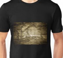 A digital painting of A Sailing Ship off Castle Cornet in Guernsey Unisex T-Shirt