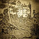 A digital painting  of Bran Castle (Dracula) Romania by Dennis Melling