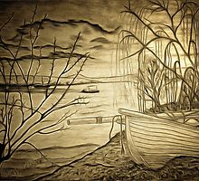 A digital painting of The Danube and A Boat by Dennis Melling