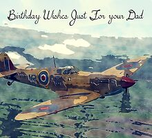 Watercolor and Sketch WW2 Plane Birthday Card For Dad by Moonlake