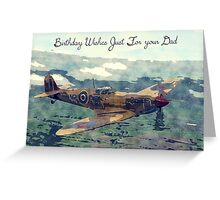 Watercolor and Sketch WW2 Plane Birthday Card For Dad Greeting Card