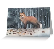 Red Fox in a Snowstorm Greeting Card