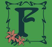 Fancy art nouveau letter F, flower Baby Tee