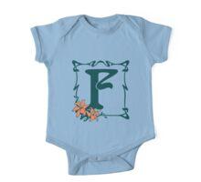 Fancy art nouveau letter F, flower One Piece - Short Sleeve