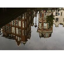 Amsterdam - Moody Canal Reflection in the Rain Photographic Print