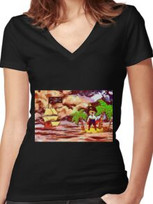 Toon Boy No 20a A Pirate Boy scene Women's Fitted V-Neck T-Shirt
