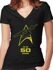 Star Trek 50th Anniversary Women's Fitted V-Neck T-Shirt