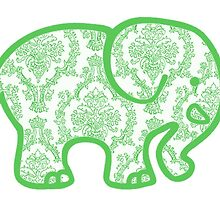 green damask elephant by Emily Grimaldi