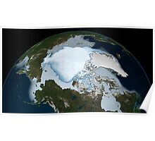 Planet Earth showing sea ice coverage in 1980. Poster