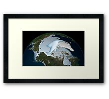 Planet Earth showing sea ice coverage in 2012. Framed Print