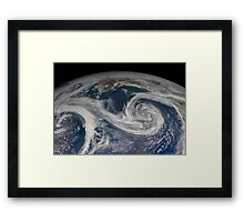 Satellite view of the southern Alaska coast and the Gulf of Alaska. Framed Print
