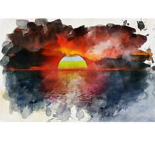 Watercolor Sunset Photographic Print