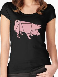 Origami Pig Women's Fitted Scoop T-Shirt