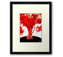 RED FLOWERS AND VASE Framed Print
