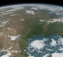 Panoramic view of planet Earth and the United States. by StocktrekImages