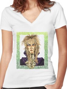 David Bowie Tribute Women's Fitted V-Neck T-Shirt