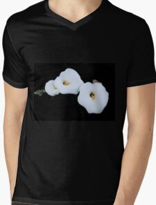 Three Calla Lilies Isolated On A Black Background T-Shirt