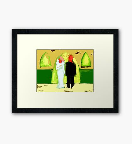 BLUSHING BRIDE AND GROOM 2 Framed Print