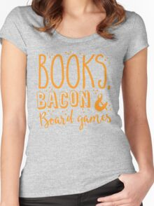 Books, Bacon and board games Women's Fitted Scoop T-Shirt