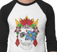 Royal Dead, Floral Crown Sugar Skull Men's Baseball ¾ T-Shirt