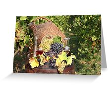 vineyard with grape and wine  Greeting Card