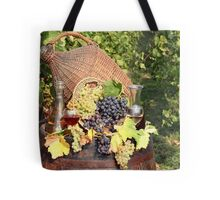 vineyard with grape and wine  Tote Bag