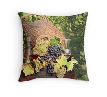 vineyard with grape and wine  Throw Pillow
