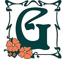 Fancy art nouveau letter G, flower Photographic Print