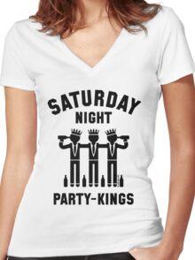 Saturday Night Party-Kings (Black) Women's Fitted V-Neck T-Shirt