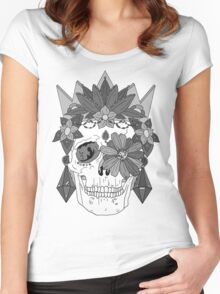 Royal Dead, Floral Crown Greyscale Sugar Skull Women's Fitted Scoop T-Shirt