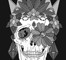 Royal Dead, Floral Crown Greyscale Sugar Skull by bblane