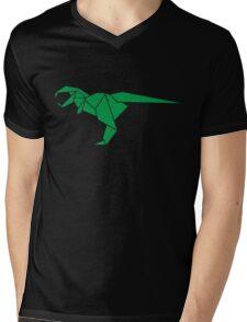 Origami T-Rex Mens V-Neck T-Shirt