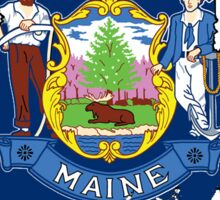 Maine Map with Maine State Flag Sticker