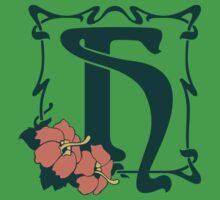 Fancy art nouveau letter H, flower Baby Tee