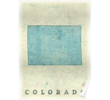 Colorado State Map Blue Vintage Poster
