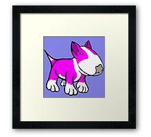 Cute English Bull Terrier Cartoon White & Pink Framed Print