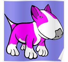 Cute English Bull Terrier Cartoon White & Pink Poster