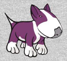 Cute English Bull Terrier Cartoon White & Pink One Piece - Short Sleeve