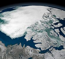 Arctic sea ice above North America by StocktrekImages
