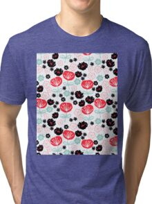 Flowers - red white mint by Andrea Lauren  Tri-blend T-Shirt