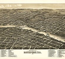 Bird's eye view of the city of Rockford Illinois (1880) by allhistory