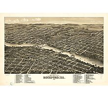 Bird's eye view of the city of Rockford Illinois (1880) Photographic Print