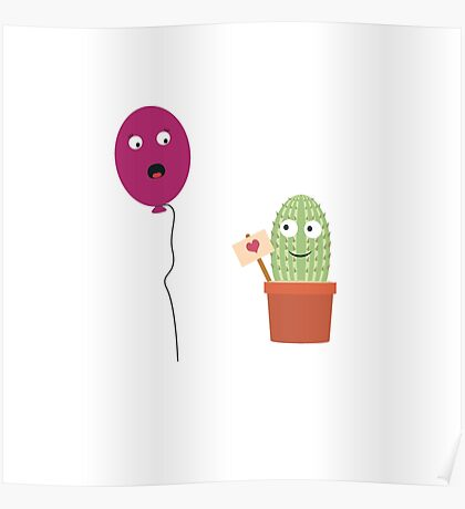 Cactus in love with balloon Poster