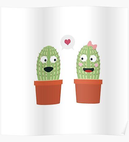 Cacti in love Poster