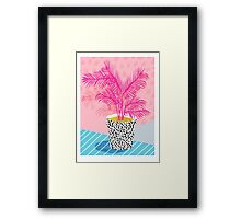 No Can Do - potted plant art indoor desert graphic imagery throwback 1980s style memphis neon  Framed Print