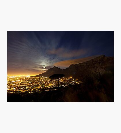 Table Mountain at Night Photographic Print