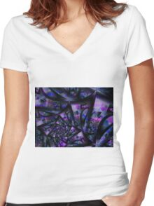Purple Dreams Abstract Women's Fitted V-Neck T-Shirt