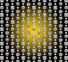 Diamond Mosaic 1 - Digital illustration of original hand rendered precious stones. Yellow gradient on black background. by ACDigitalArt