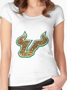 University of South Florida Bulls logo Women's Fitted Scoop T-Shirt