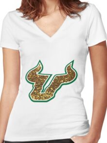 University of South Florida Bulls logo Women's Fitted V-Neck T-Shirt
